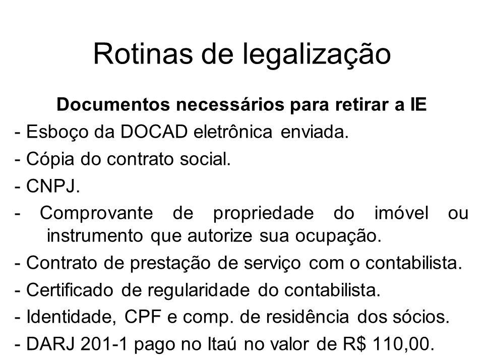 Rotinas de legalização Documentos necessários para retirar a IE - Esboço da DOCAD eletrônica enviada. - Cópia do contrato social. - CNPJ. - Comprovant