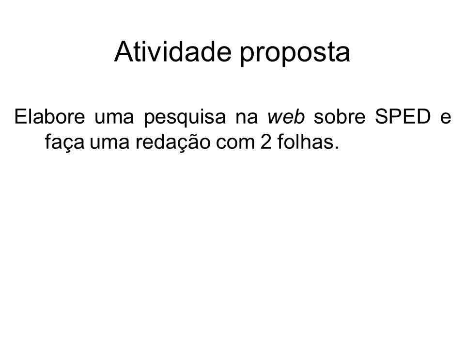 Atividade proposta Elabore uma pesquisa na web sobre SPED e faça uma redação com 2 folhas.