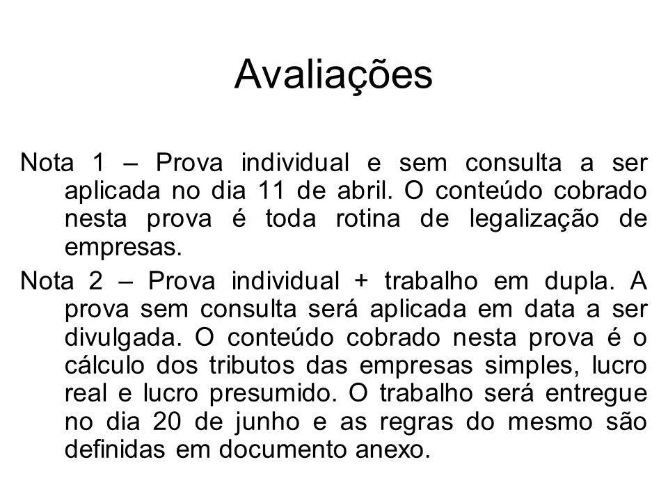 Avaliações Nota 1 – Prova individual e sem consulta a ser aplicada no dia 11 de abril. O conteúdo cobrado nesta prova é toda rotina de legalização de