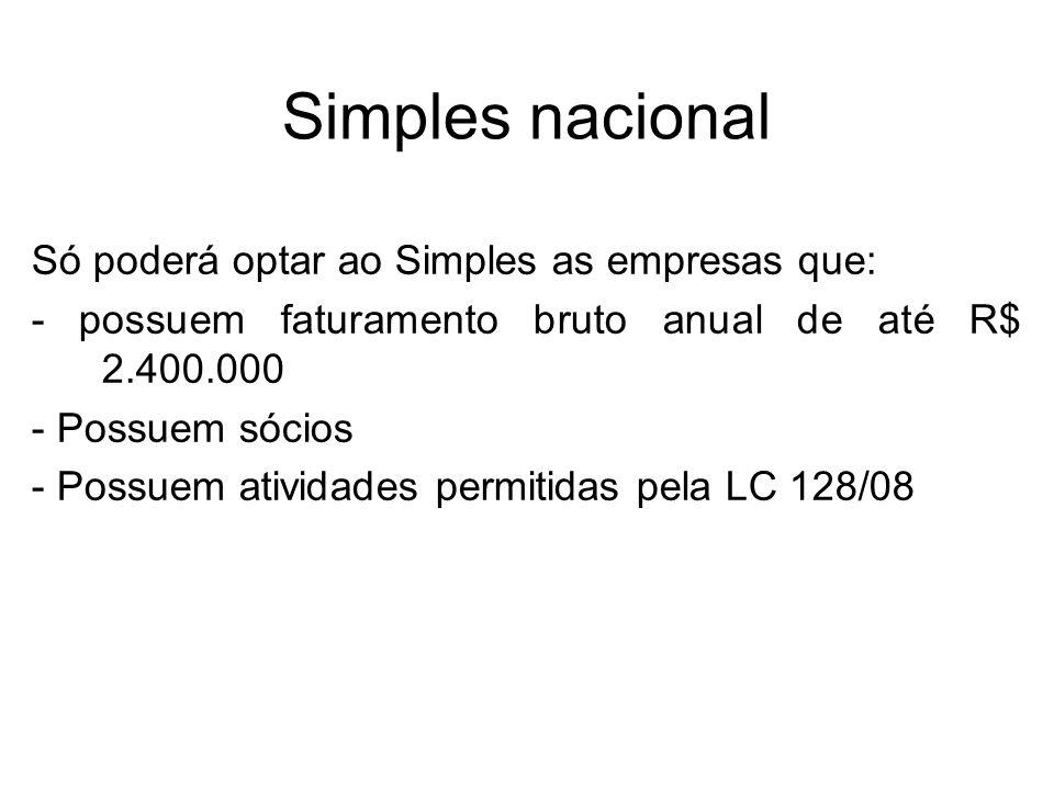 Simples nacional Só poderá optar ao Simples as empresas que: - possuem faturamento bruto anual de até R$ 2.400.000 - Possuem sócios - Possuem atividad