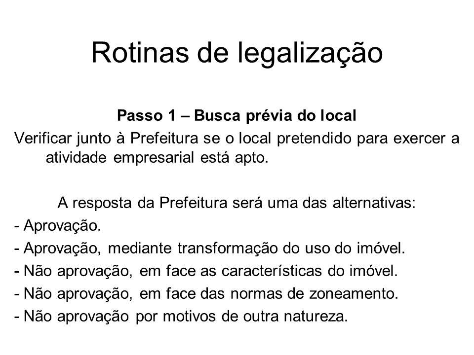 Rotinas de legalização Passo 1 – Busca prévia do local Verificar junto à Prefeitura se o local pretendido para exercer a atividade empresarial está ap