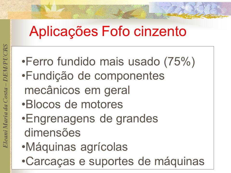 Eleani Maria da Costa – DEM/PUCRS Ferro fundido mais usado (75%) Fundição de componentes mecânicos em geral Blocos de motores Engrenagens de grandes d