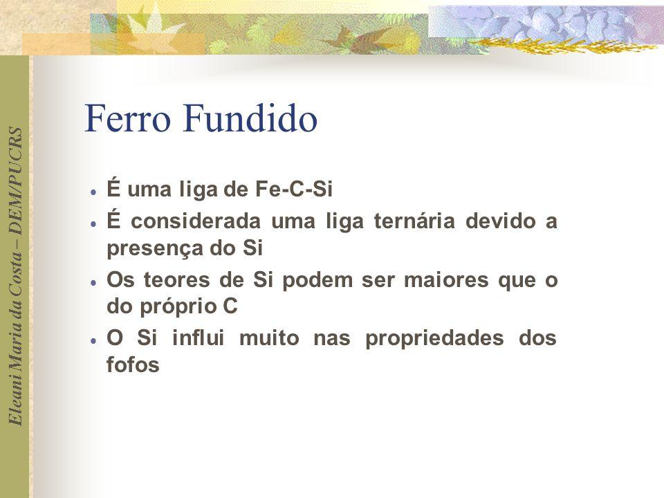 Eleani Maria da Costa – DEM/PUCRS Ferro Fundido É uma liga de Fe-C-Si É considerada uma liga ternária devido a presença do Si Os teores de Si podem se