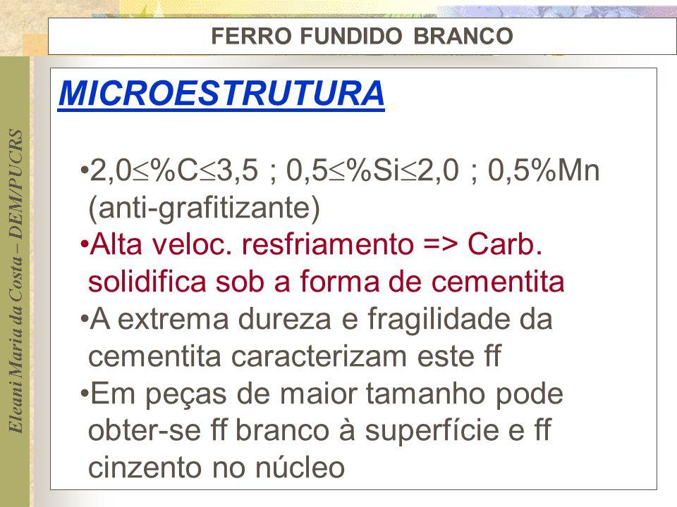 Eleani Maria da Costa – DEM/PUCRS FERRO FUNDIDO BRANCO MICROESTRUTURA 2,0 %C 3,5 ; 0,5 %Si 2,0 ; 0,5%Mn (anti-grafitizante) Alta veloc. resfriamento =