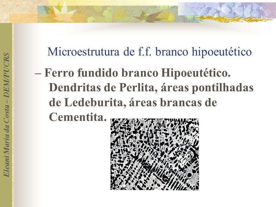 Eleani Maria da Costa – DEM/PUCRS Microestrutura de f.f. branco hipoeutético – Ferro fundido branco Hipoeutético. Dendritas de Perlita, áreas pontilha