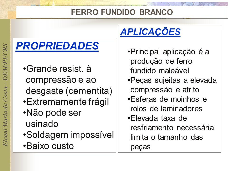 Eleani Maria da Costa – DEM/PUCRS FERRO FUNDIDO BRANCO PROPRIEDADES Grande resist. à compressão e ao desgaste (cementita) Extremamente frágil Não pode