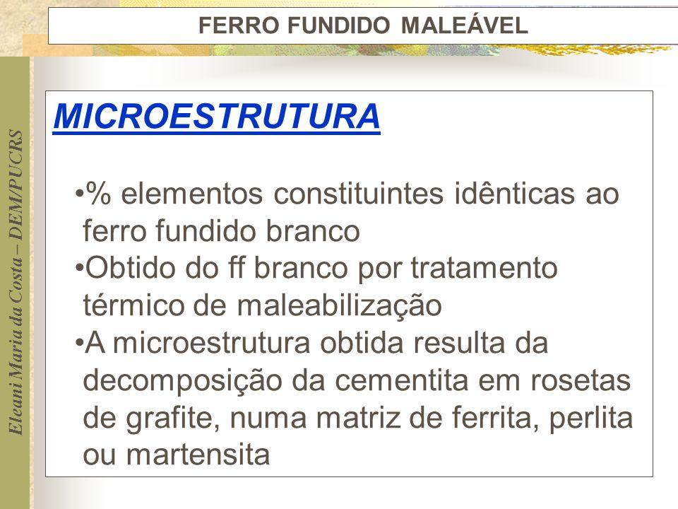 Eleani Maria da Costa – DEM/PUCRS FERRO FUNDIDO MALEÁVEL MICROESTRUTURA % elementos constituintes idênticas ao ferro fundido branco Obtido do ff branc