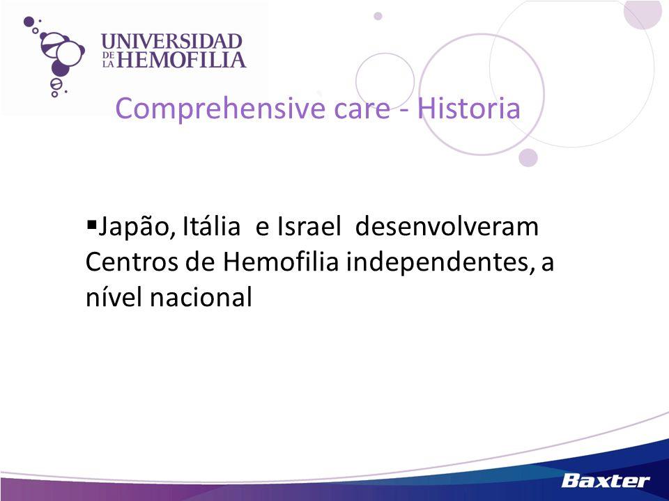 Japão, Itália e Israel desenvolveram Centros de Hemofilia independentes, a nível nacional Comprehensive care - Historia