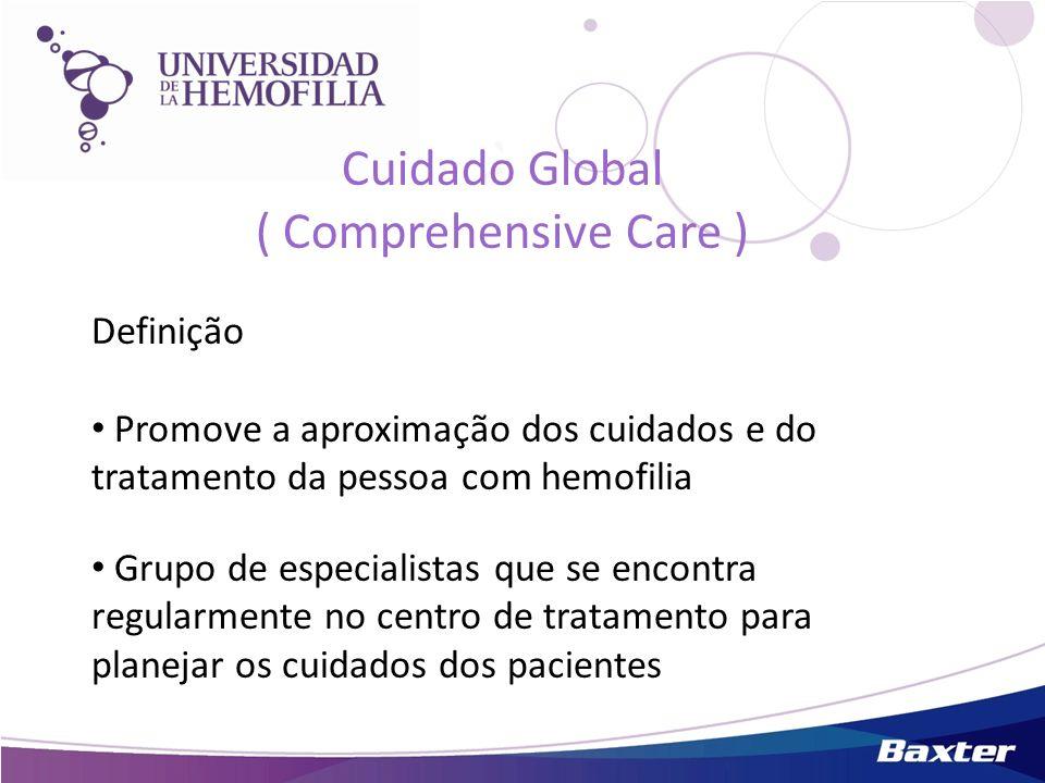Cuidado Global ( Comprehensive Care ) Definição Promove a aproximação dos cuidados e do tratamento da pessoa com hemofilia Grupo de especialistas que