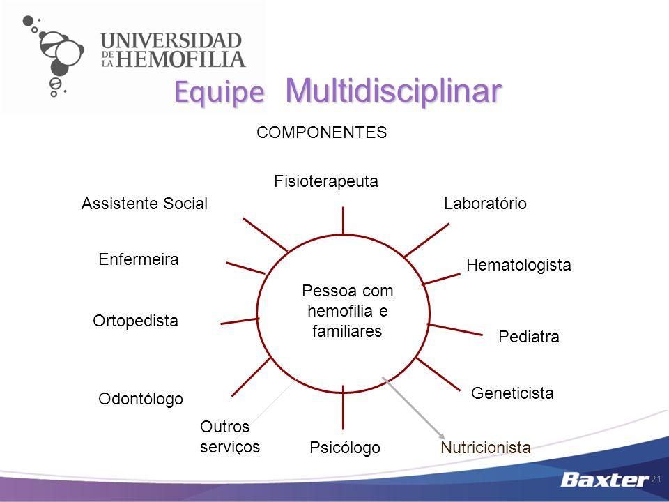 Equipe Multidisciplinar Pessoa com hemofilia e familiares Ortopedista Enfermeira Fisioterapeuta Assistente Social Odontólogo Psicólogo Geneticista Hem