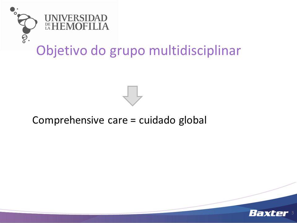 3 Objetivo do grupo multidisciplinar Comprehensive care = cuidado global