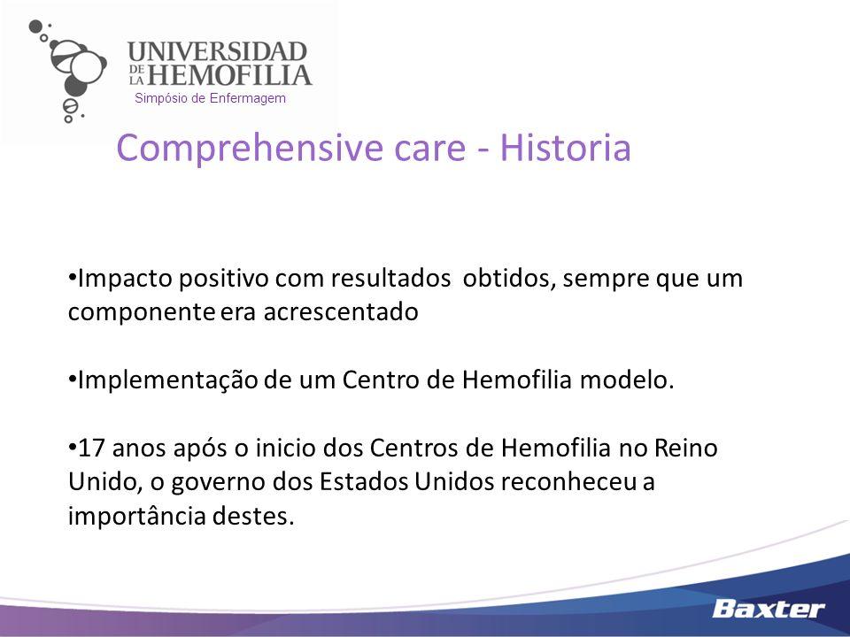 Simpósio de Enfermagem Impacto positivo com resultados obtidos, sempre que um componente era acrescentado Implementação de um Centro de Hemofilia mode