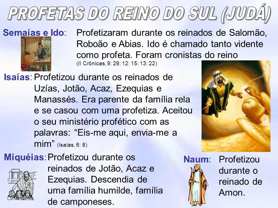 Semaías e Ido:Profetizaram durante os reinados de Salomão, Roboão e Abias. Ido é chamado tanto vidente como profeta. Foram cronistas do reino (II Crôn