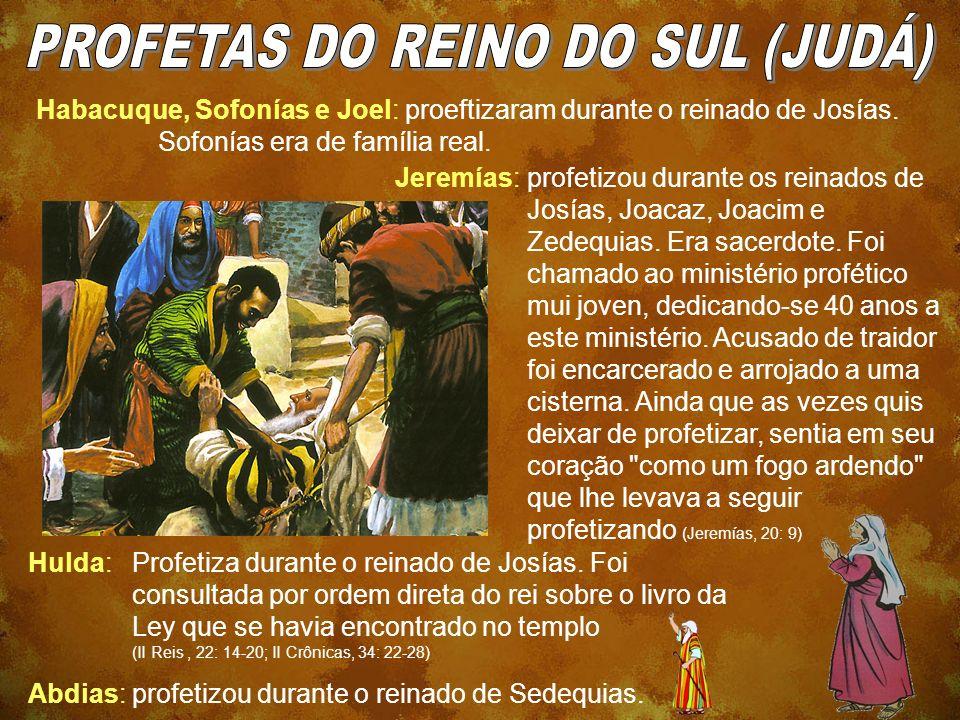 Habacuque, Sofonías e Joel: proeftizaram durante o reinado de Josías. Sofonías era de família real. Jeremías:profetizou durante os reinados de Josías,