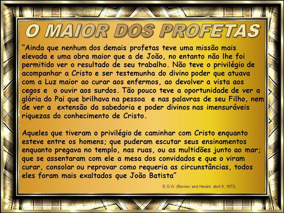 Ainda que nenhum dos demais profetas teve uma missão mais elevada e uma obra maior que a de João, no entanto não lhe foi permitido ver o resultado de