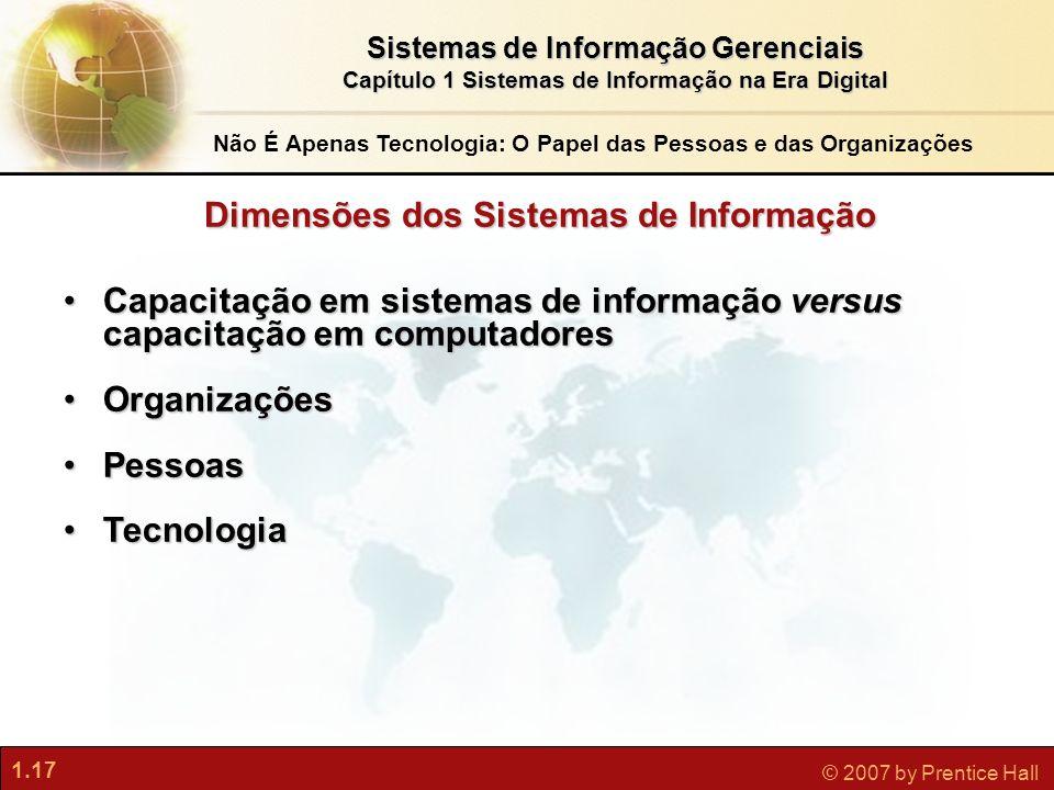 1.17 © 2007 by Prentice Hall Sistemas de Informação Gerenciais Capítulo 1 Sistemas de Informação na Era Digital Não É Apenas Tecnologia: O Papel das P