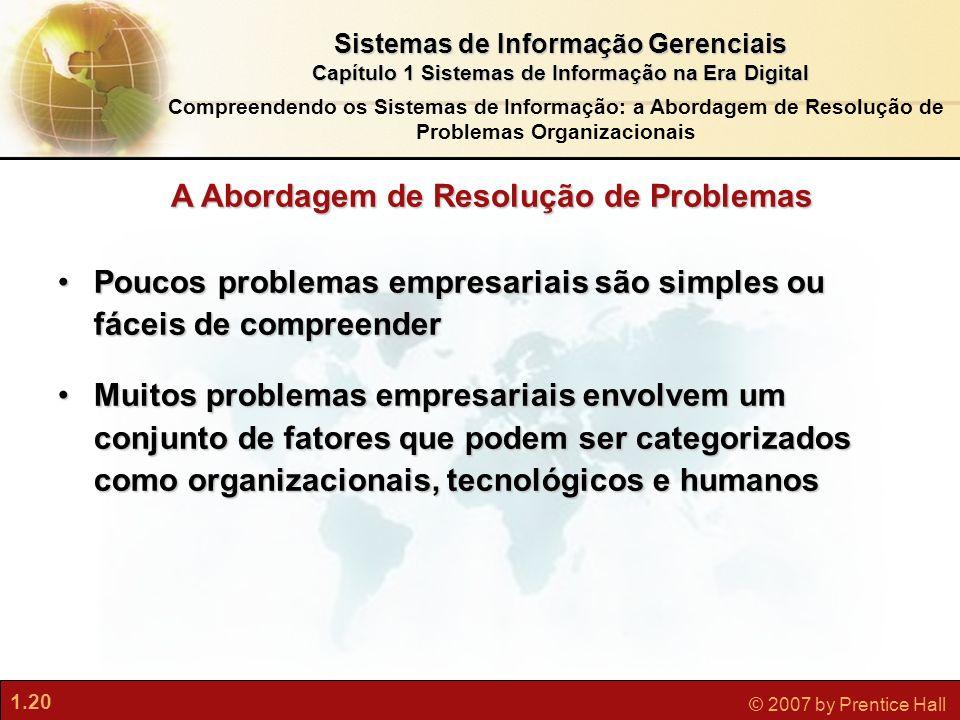 1.20 © 2007 by Prentice Hall Sistemas de Informação Gerenciais Capítulo 1 Sistemas de Informação na Era Digital Compreendendo os Sistemas de Informaçã