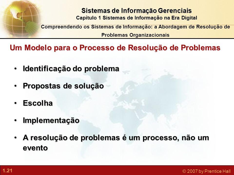 1.21 © 2007 by Prentice Hall Sistemas de Informação Gerenciais Capítulo 1 Sistemas de Informação na Era Digital Compreendendo os Sistemas de Informaçã