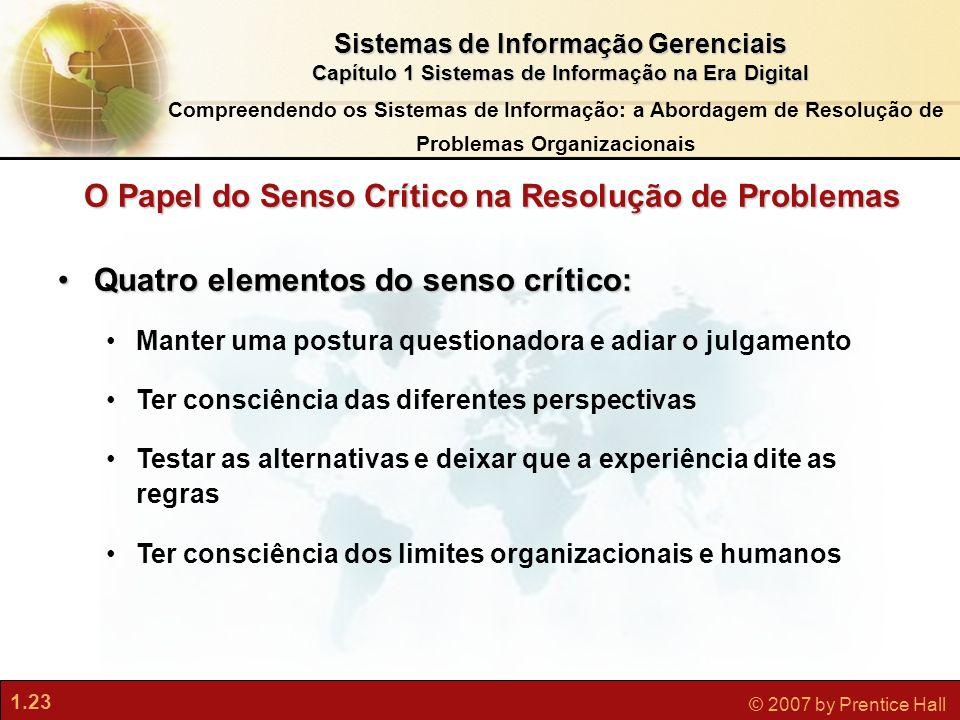 1.23 © 2007 by Prentice Hall Sistemas de Informação Gerenciais Capítulo 1 Sistemas de Informação na Era Digital Quatro elementos do senso crítico:Quat