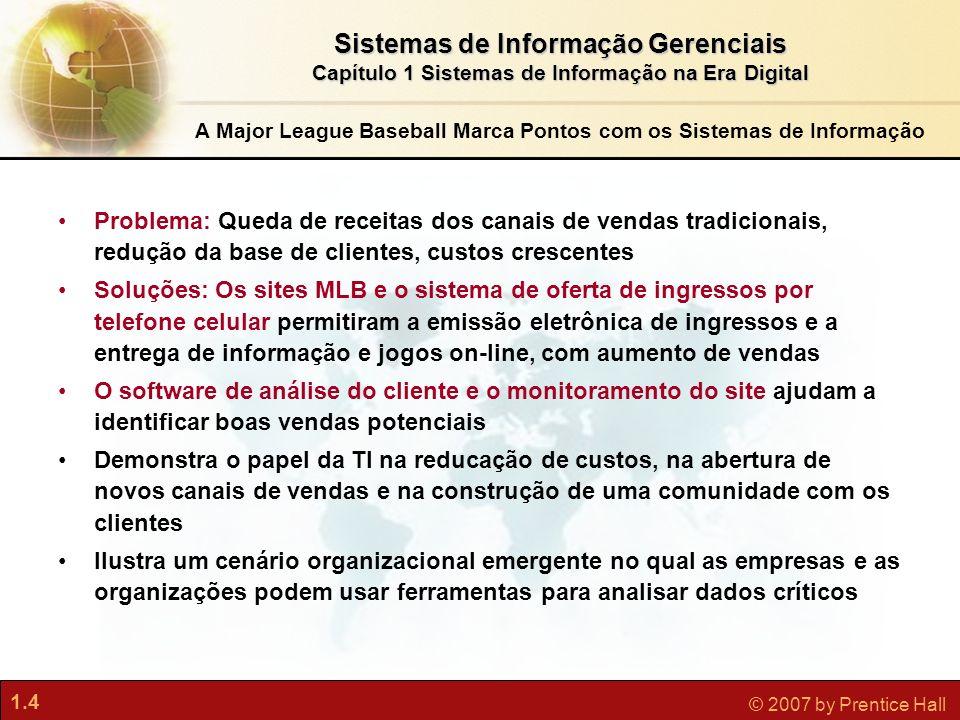 1.4 © 2007 by Prentice Hall Sistemas de Informação Gerenciais Capítulo 1 Sistemas de Informação na Era Digital A Major League Baseball Marca Pontos co