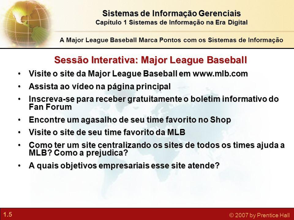 1.5 © 2007 by Prentice Hall Sistemas de Informação Gerenciais Capítulo 1 Sistemas de Informação na Era Digital Visite o site da Major League Baseball