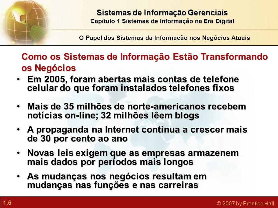 1.6 © 2007 by Prentice Hall Sistemas de Informação Gerenciais Capítulo 1 Sistemas de Informação na Era Digital O Papel dos Sistemas da Informação nos
