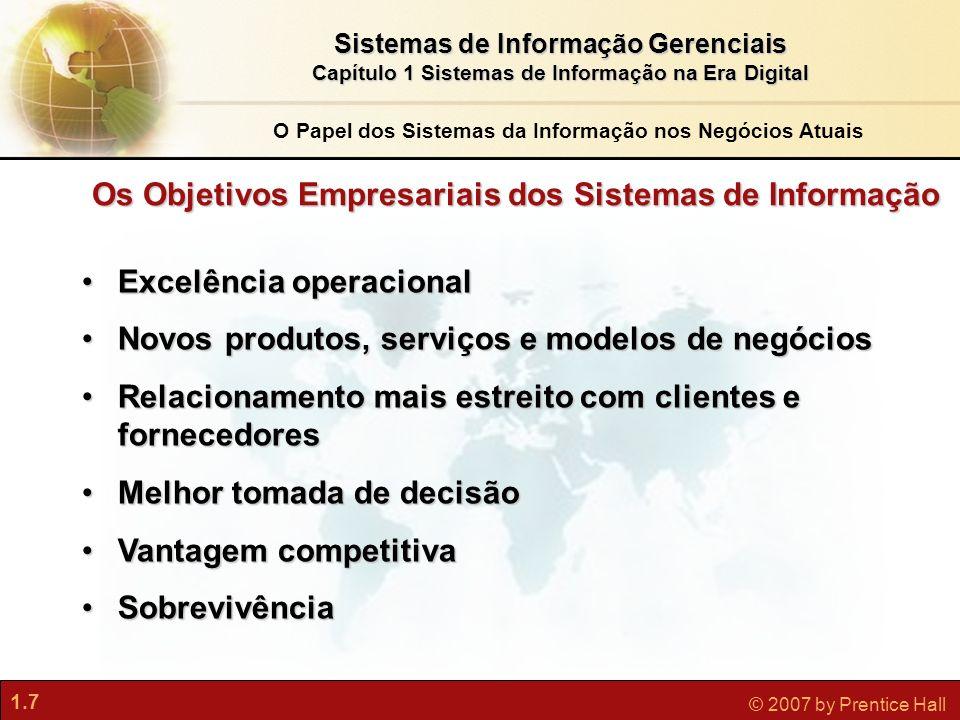1.7 © 2007 by Prentice Hall Sistemas de Informação Gerenciais Capítulo 1 Sistemas de Informação na Era Digital Excelência operacionalExcelência operac