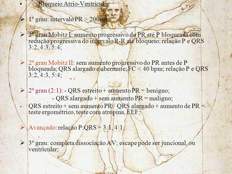 Bloqueio Atrio-Ventricular 1º grau: intervalo PR > 200ms; 2º grau Mobitz I: aumento progressivo do PR até P bloqueada com redução progressiva do inter