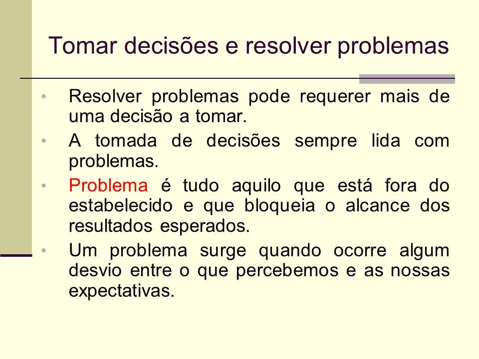 Tomar decisões e resolver problemas Resolver problemas pode requerer mais de uma decisão a tomar. A tomada de decisões sempre lida com problemas. Prob