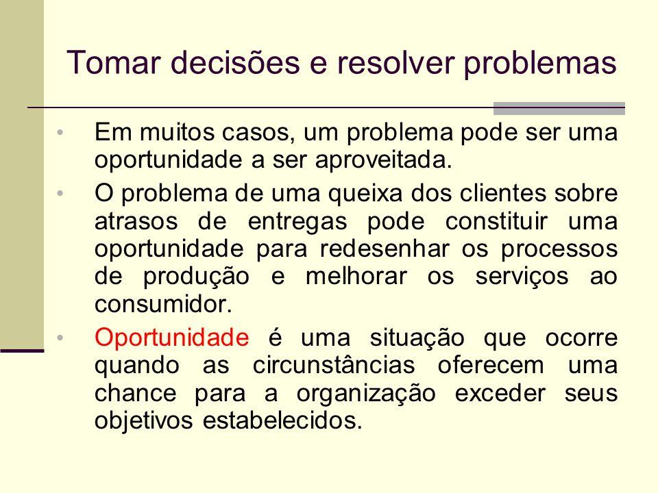 Tomar decisões e resolver problemas Em muitos casos, um problema pode ser uma oportunidade a ser aproveitada. O problema de uma queixa dos clientes so