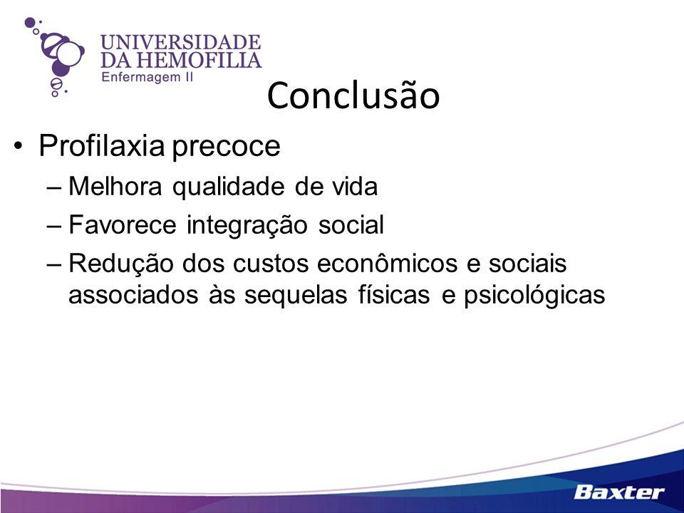 Conclusão Profilaxia precoce –Melhora qualidade de vida –Favorece integração social –Redução dos custos econômicos e sociais associados às sequelas fí