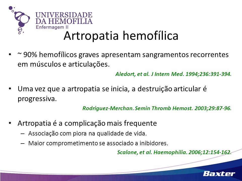 Artropatia hemofílica ~ 90% hemofílicos graves apresentam sangramentos recorrentes em músculos e articulações. Aledort, et al. J Intern Med. 1994;236: