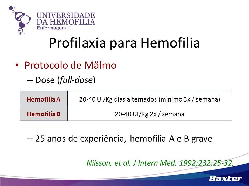 Protocolo de Mälmo – Dose (full-dose) – 25 anos de experiência, hemofilia A e B grave Nilsson, et al. J Intern Med. 1992;232:25-32. Hemofilia A20-40 U