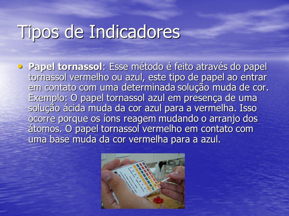 Tipos de Indicadores Papel tornassol: Esse método é feito através do papel tornassol vermelho ou azul, este tipo de papel ao entrar em contato com uma