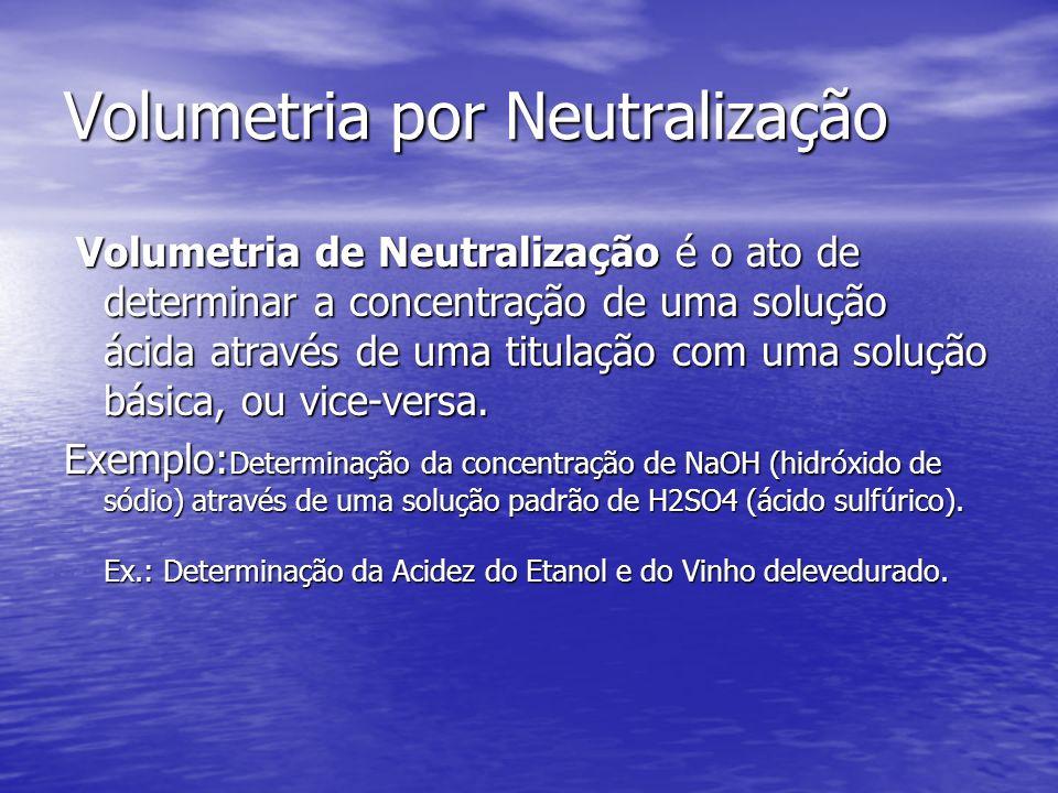 Volumetria por Neutralização Volumetria de Neutralização é o ato de determinar a concentração de uma solução ácida através de uma titulação com uma so