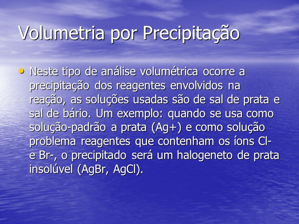 Volumetria por Precipitação Neste tipo de análise volumétrica ocorre a precipitação dos reagentes envolvidos na reação, as soluções usadas são de sal