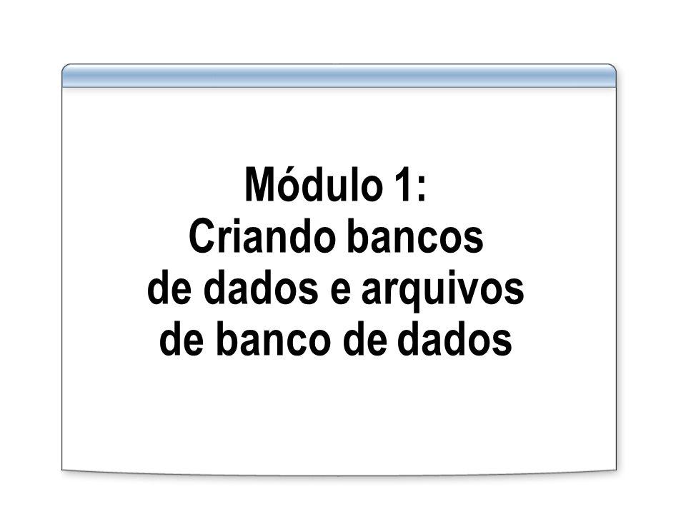 Visão geral do módulo Criando bancos de dados Criando grupos de arquivos Criando esquemas Criando instantâneos de banco de dados