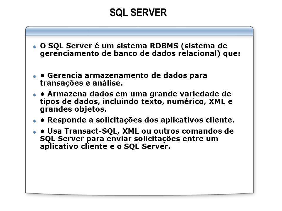SQL SERVER O SQL Server é um sistema RDBMS (sistema de gerenciamento de banco de dados relacional) que: Gerencia armazenamento de dados para transaçõe
