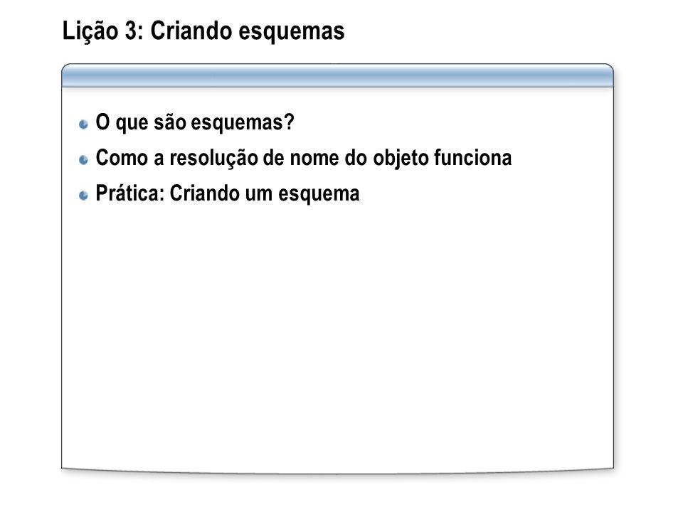 Lição 3: Criando esquemas O que são esquemas? Como a resolução de nome do objeto funciona Prática: Criando um esquema