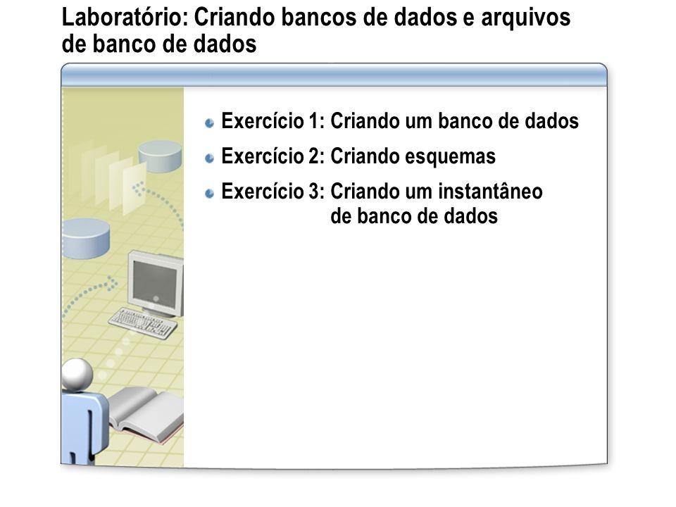 Laboratório: Criando bancos de dados e arquivos de banco de dados Exercício 1: Criando um banco de dados Exercício 2: Criando esquemas Exercício 3: Cr