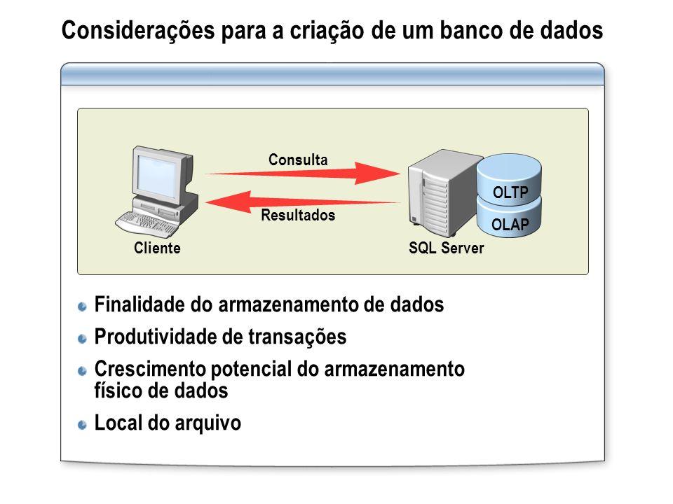 Considerações para a criação de um banco de dados Finalidade do armazenamento de dados Produtividade de transações Crescimento potencial do armazename