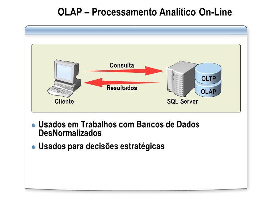 OLAP – Processamento Analítico On-Line Usados em Trabalhos com Bancos de Dados DesNormalizados Usados para decisões estratégicas OLAPOLTP SQL ServerCl