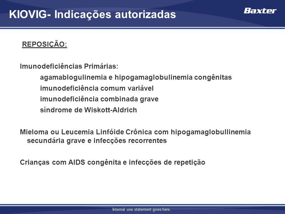 Internal use statement goes here. KIOVIG- Indicações autorizadas REPOSIÇÃO: Imunodeficiências Primárias: agamablogulinemia e hipogamaglobulinemia cong