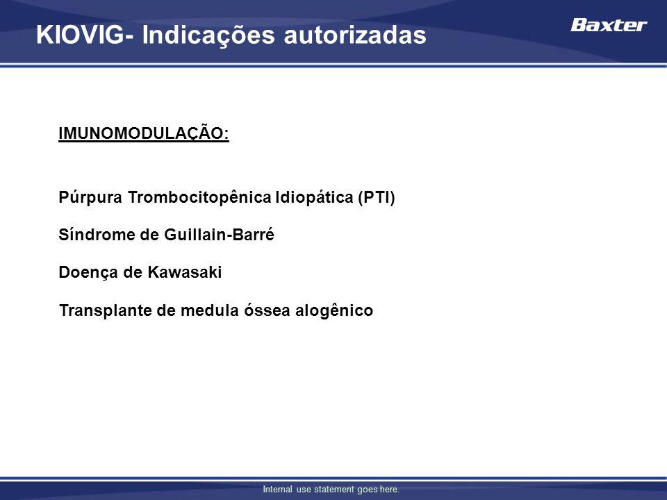 Internal use statement goes here. IMUNOMODULAÇÃO: Púrpura Trombocitopênica Idiopática (PTI) Síndrome de Guillain-Barré Doença de Kawasaki Transplante
