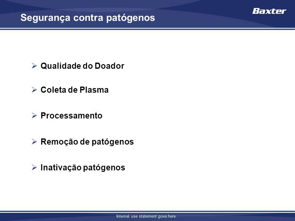 Internal use statement goes here. Segurança contra patógenos Qualidade do Doador Coleta de Plasma Processamento Remoção de patógenos Inativação patóge