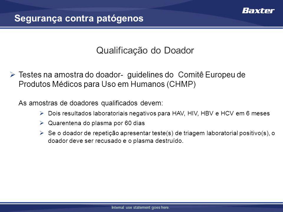 Internal use statement goes here. Testes na amostra do doador- guidelines do Comitê Europeu de Produtos Médicos para Uso em Humanos (CHMP) As amostras