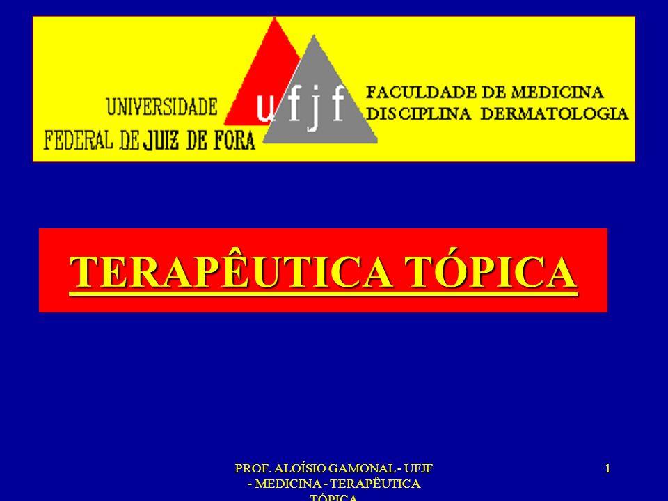 PROF. ALOÍSIO GAMONAL - UFJF - MEDICINA - TERAPÊUTICA TÓPICA 1 TERAPÊUTICA TÓPICA