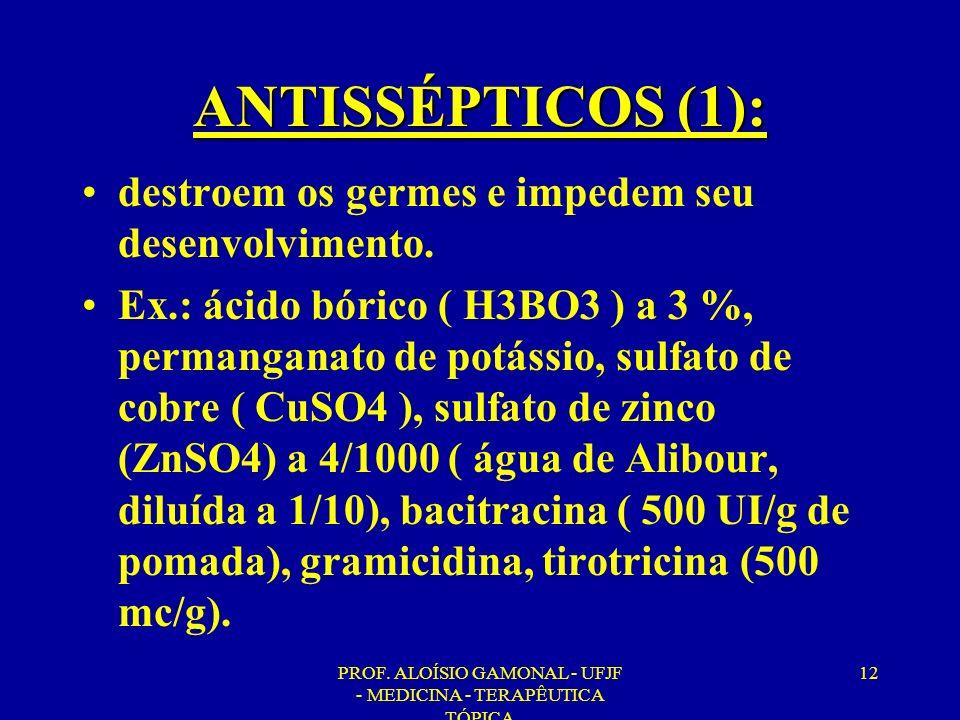 PROF. ALOÍSIO GAMONAL - UFJF - MEDICINA - TERAPÊUTICA TÓPICA 12 ANTISSÉPTICOS (1): destroem os germes e impedem seu desenvolvimento. Ex.: ácido bórico