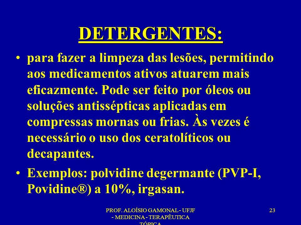 PROF. ALOÍSIO GAMONAL - UFJF - MEDICINA - TERAPÊUTICA TÓPICA 23 DETERGENTES: para fazer a limpeza das lesões, permitindo aos medicamentos ativos atuar