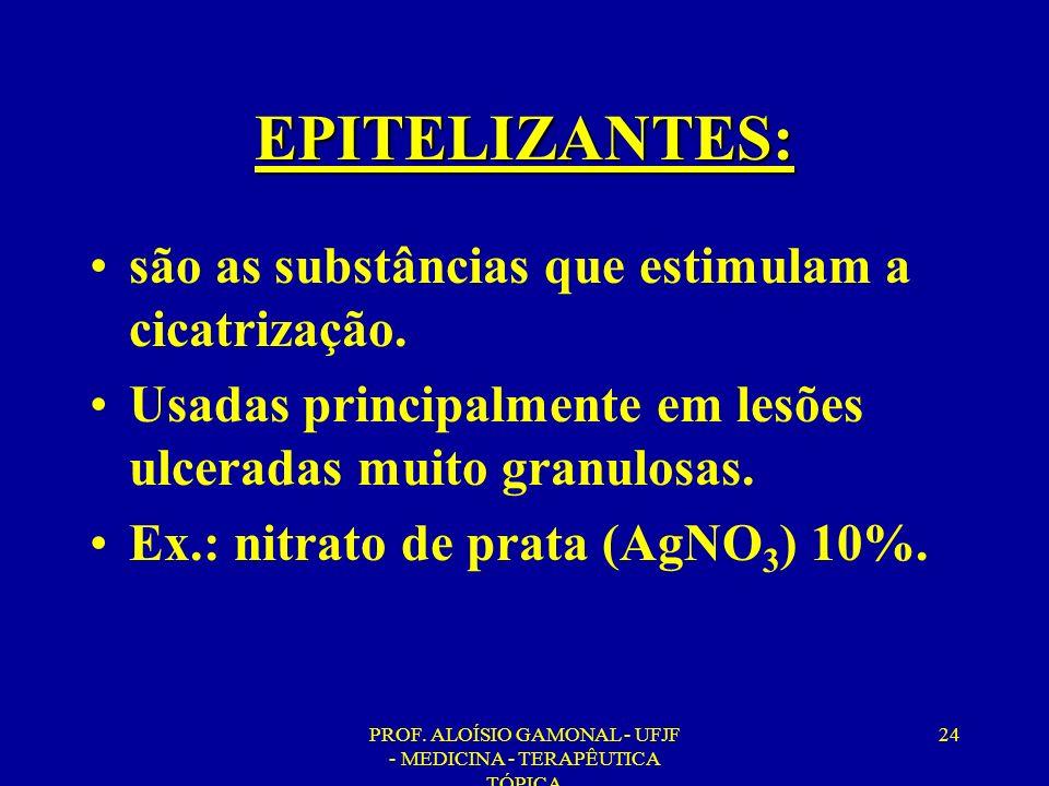 PROF. ALOÍSIO GAMONAL - UFJF - MEDICINA - TERAPÊUTICA TÓPICA 24 EPITELIZANTES: são as substâncias que estimulam a cicatrização. Usadas principalmente